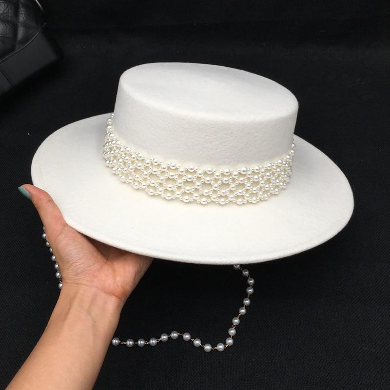 قبعة فيدورا من الصوف الأبيض ، مجموعة جديدة ، لؤلؤة ، بيضاء ، ناعمة ، حافة عريضة ، هيبورن ، للنساء ، خريف وشتاء