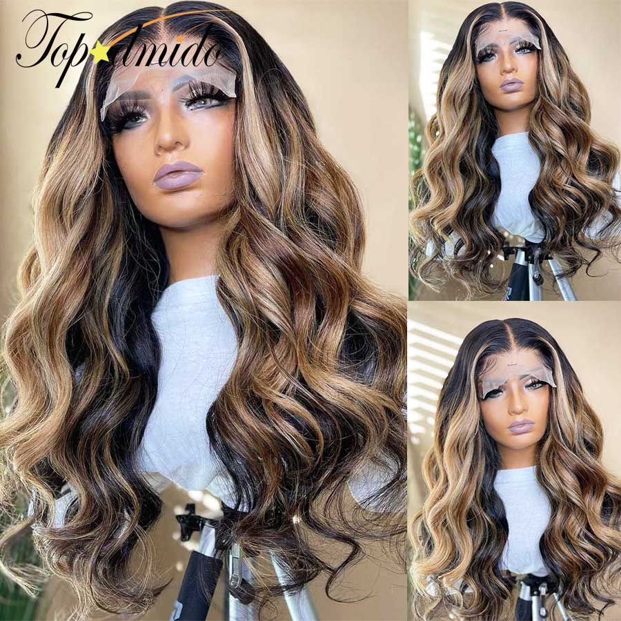 Topodmido Highlight Color 13x6 HD Lace Front Wigs with Baby Hair Brazilian Human Hair Wig 150% Density Remy Glueless Lace Wig