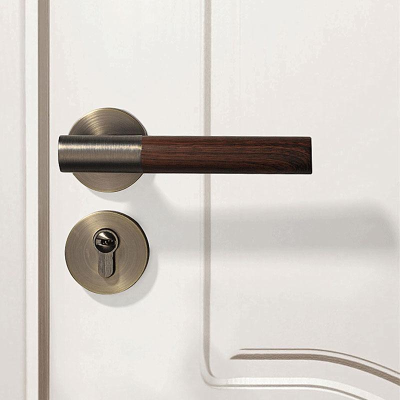 1 مجموعة الباب قفل العتيقة الخشب نمط الداخلية غرفة المعيشة/غرفة نوم أسود مقبض الباب قفل الأبواب