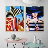 Mode femmes portant chapeau mur Art affiche Figure abstraite cerise vin toile peinture moderne impression peinture pour la decoration interieure
