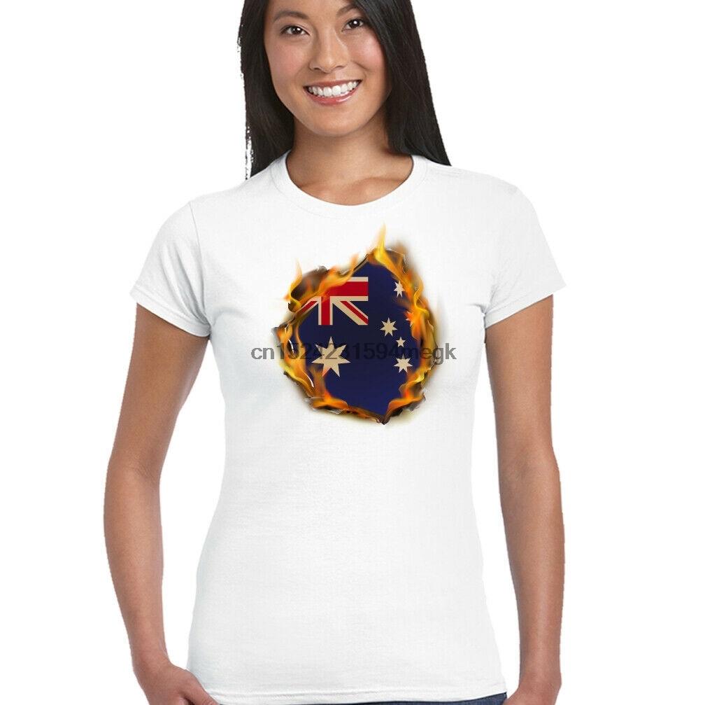 Australian National Flag Flames Womens Australia Day T-Shirt Rugby Football Top