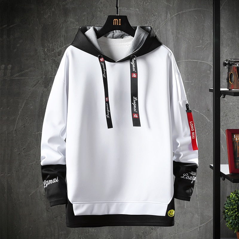 Letter Printed Mens Hoodies 2020 Japanese Style Hip Hop Casual Sweatshirts Streetwear Male Hoodies Hipster Harajuku Tops japanese streetwear denim jacket men letter printed hipster holes loose hip hop motorcycle casual mens jackets and coats 5xl