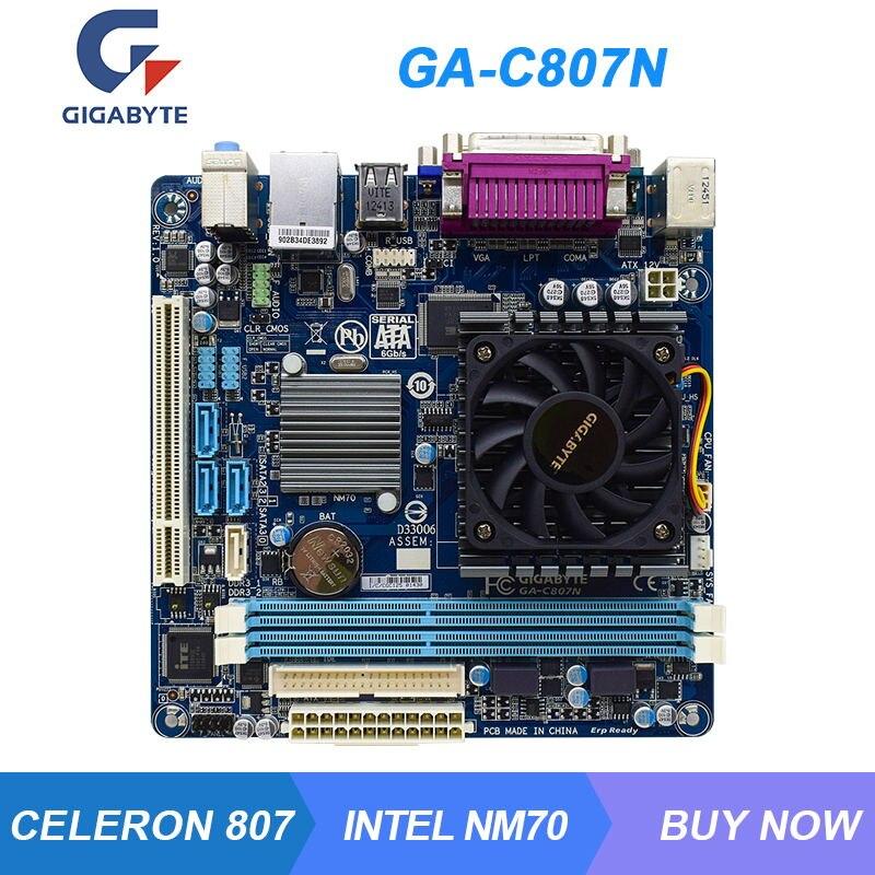 GA-C807N لجيجابايت إنتل NM70 سيليرون 807 سطح المكتب كمبيوتر صغير اللوحة DDR3 16 جيجابايت VGA USB2.0 SATA3 17.0*17.0 سنتيمتر Mini ITX