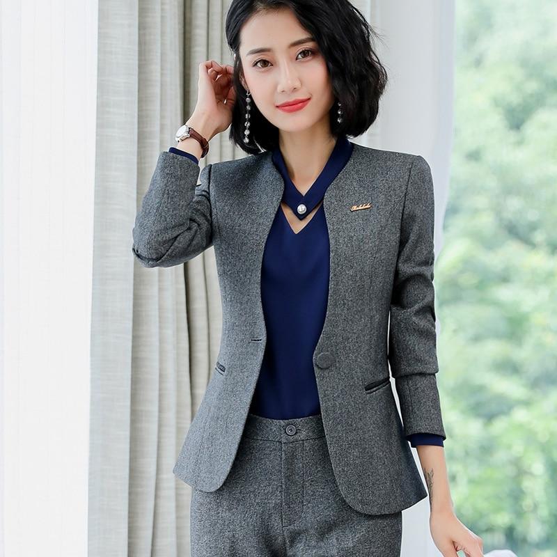 Lenshin رمادي المهنية الأعمال سترة للنساء ملابس العمل مكتب سيدة أنيقة الإناث السترة معطف