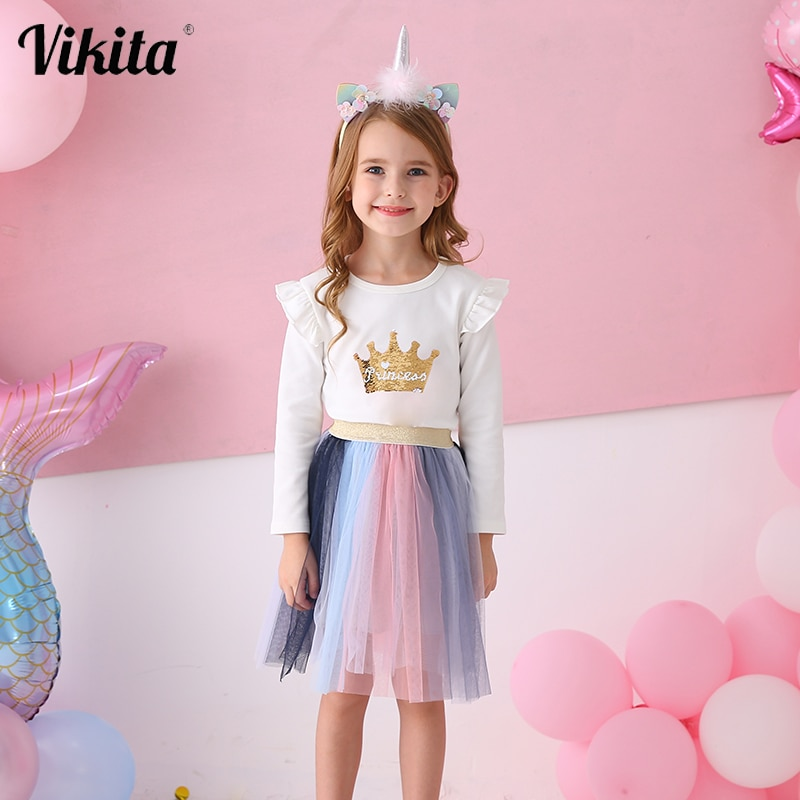 Faldas de princesa para niñas de marca VIKITA, faldas de fiesta de cumpleaños , de malla , faldas tutú niñas, falda de purpurina de tul