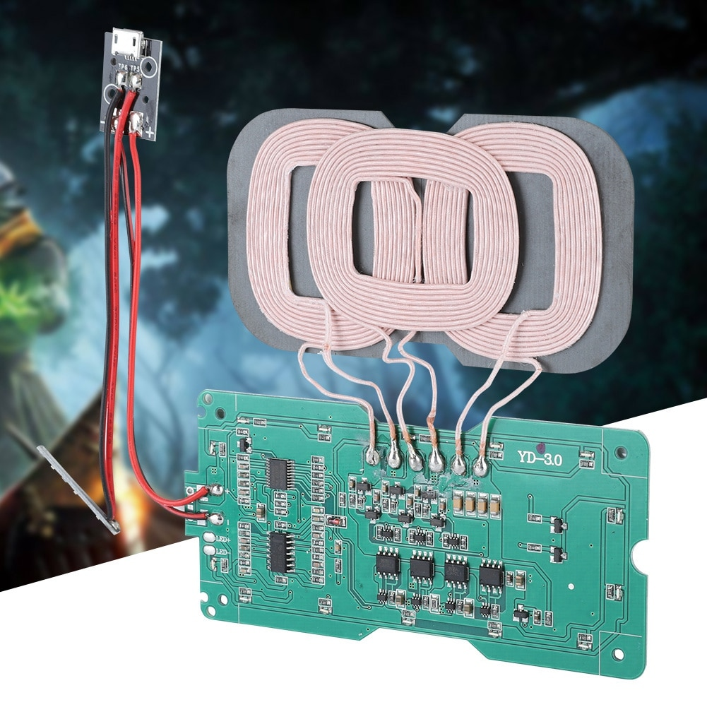 Módulo de carga inalámbrica SOONHUA DIY QI estándar 3 módulos de transmisor de carga inalámbrica placa de circuito cargador de bobina