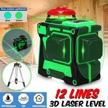 12 líneas azules líneas verdes trípode de nivel láser nivelador automático 3D 360 Horizontal y Vertical al aire libre potente rayo láser