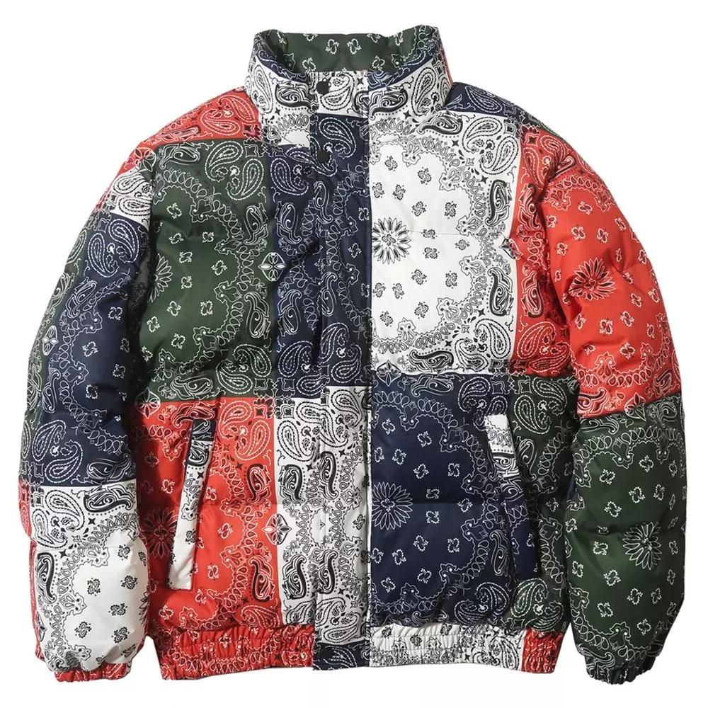 Vintage Pattern Color Block Mens Thick Parkas Casual Warm Padded Jacket Coats 2021 Harajuku Windbreaker Streetwear