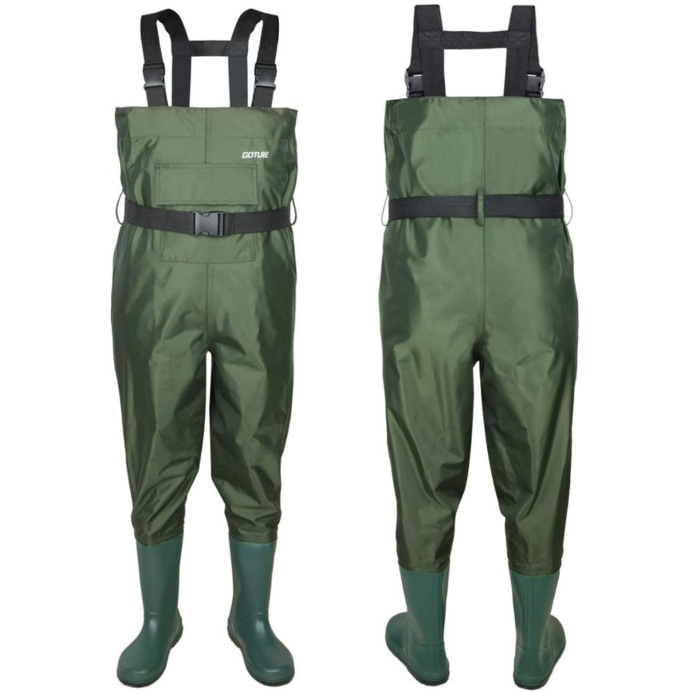 high jump ultra thin 0 34mm siamese fishing waders waterproof 700d nylon pvc breathable chest height pocket belt fishing overall Goture 100% Waterproof Kids Wader Breathable Child Fishing Chest Waders With Anti-Slip Sole Boots For Outdoor Sports Age 2-13