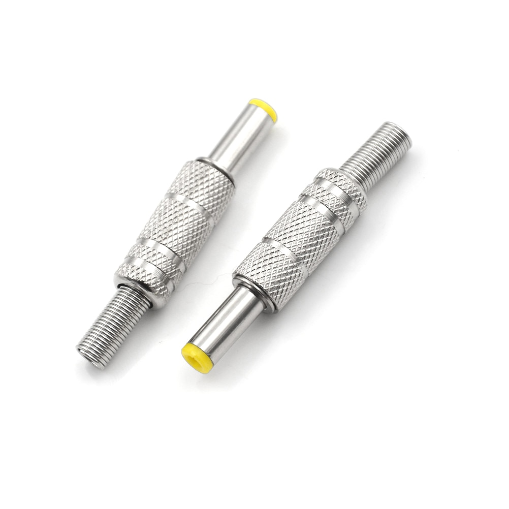 One Piece Metal DC Power Male Plug Jack Adapter Connector Plug With Yellow Head 5.5*2.1 5.5x2.1mm