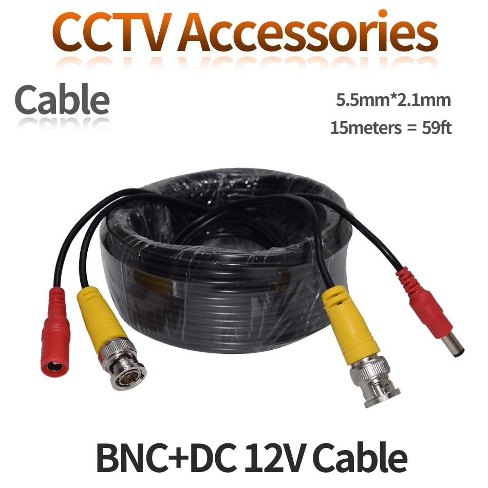 BNC CCTV DVR Camera Video Power Cable 59ft 18m for Analog AHD CVI CCTV Surveillance Camera DVR Kit enlarge
