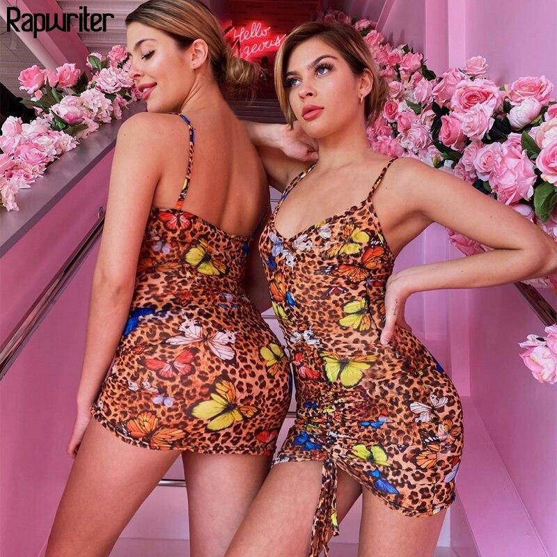 Rapwriter Vintage Spaghetti Strap estampado de leopardo mariposa cuello pico vestido Sexy mujeres 2020 señoras cordón partido vestido Club de verano