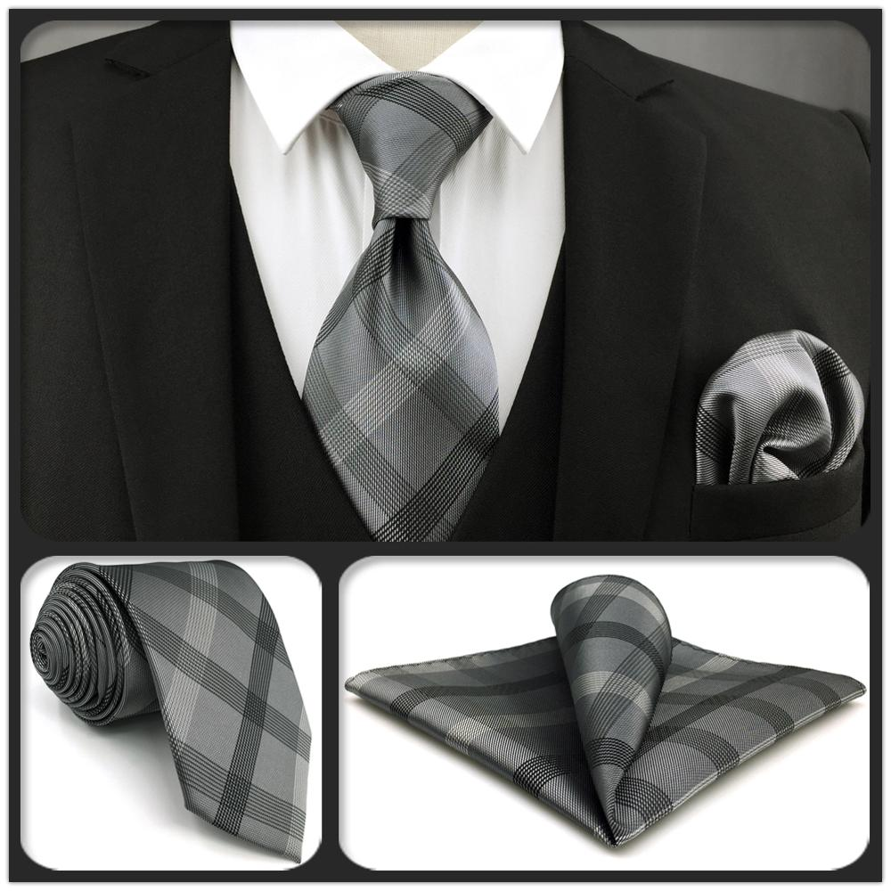 Мужской комплект одежды S1, очень длинные галстуки в клетку, черные, темно-серые, галстуки, шелковые свадебные классические скинни