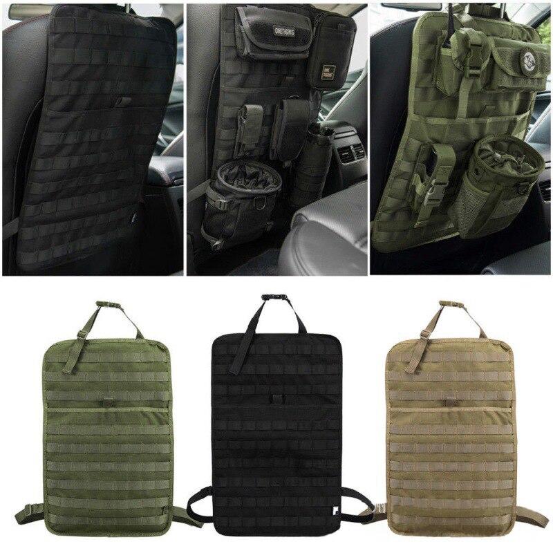 Tático do exército molle saco assento de carro volta organizador de armazenamento caça saco de engrenagem bolsa caso assento do veículo painel capa de assento do carro protetor