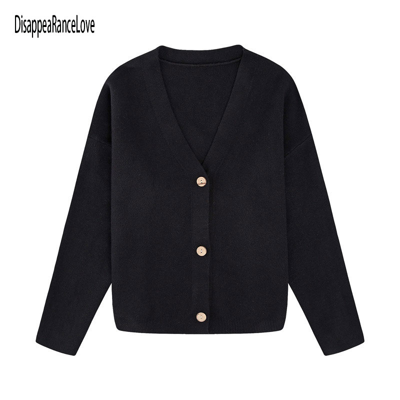 Disappearancelove Women's Cropped Cardigan Sweaters Female Black Sweater V Neck Single Breasted Swea