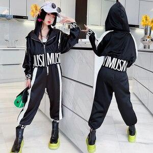 Hip Hop Kids Girls Clothes Set Letter Hooded Jacket Coats Side Spliced Sweatpants 2pcs Sports Suit Teens Child Girls Outfits 14T