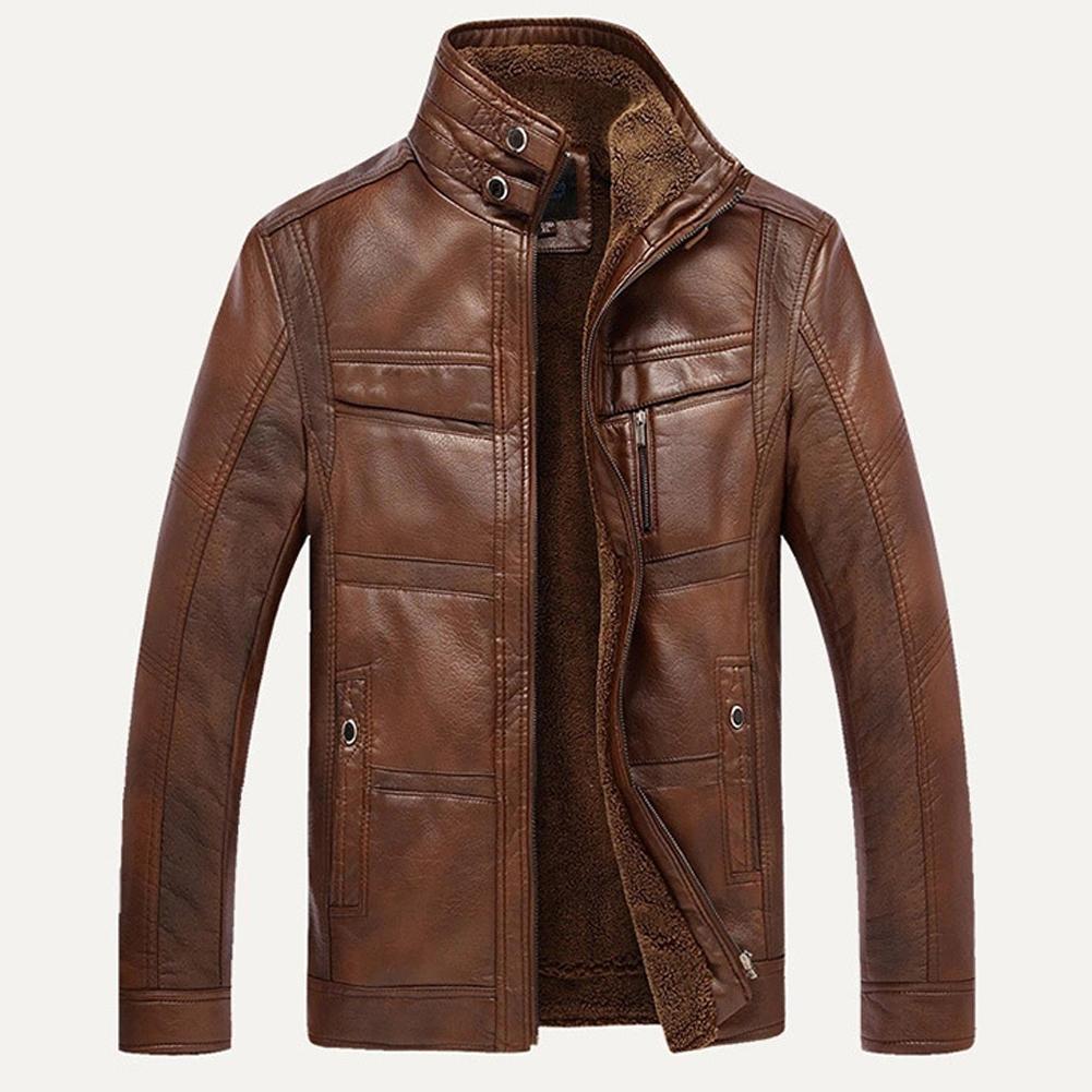 Осенне-зимние куртки для мужчин с длинным рукавом и воротником-стойкой из искусственной кожи с флисовой подкладкой на молнии теплая короткая куртка повседневная винтажная верхняя одежда