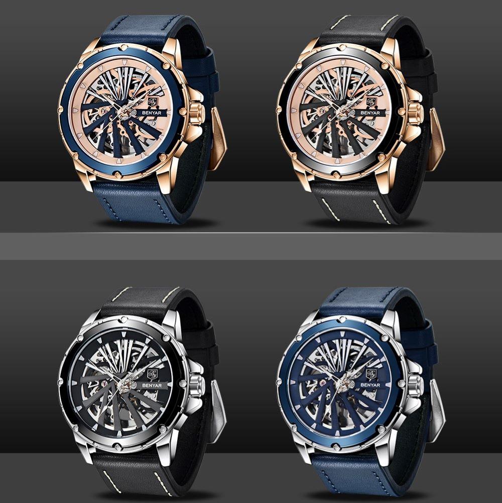 2021 New BENYAR Men Watch Top Luxury Brand Tourbillon Automatic Mechanical Watch Men Waterproof Leather Strap Relogio Masculino enlarge