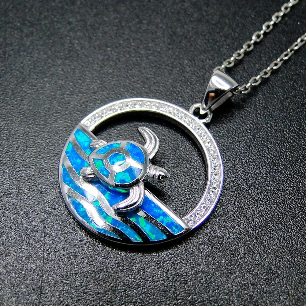 Venda quente vendido 925 prata esterlina azul fogo opala mar tartaruga oceano pingente colar para o presente