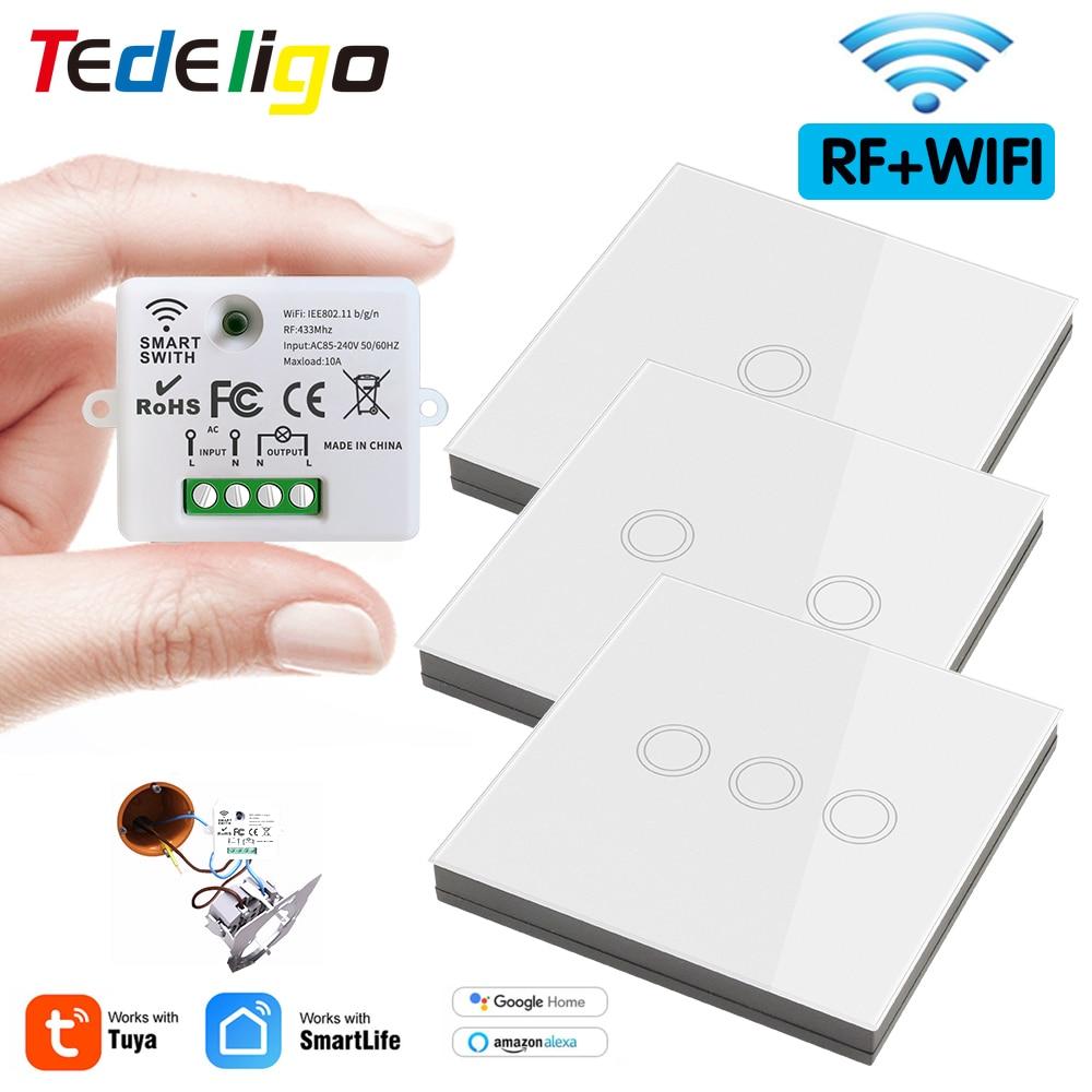 AliExpress - Wifi Tuya Mini Smart Light Switch 433MHZ Wireless Wall Panel Touch Switch 220V 10A Relay Works with Alexa Google Home Smart Life