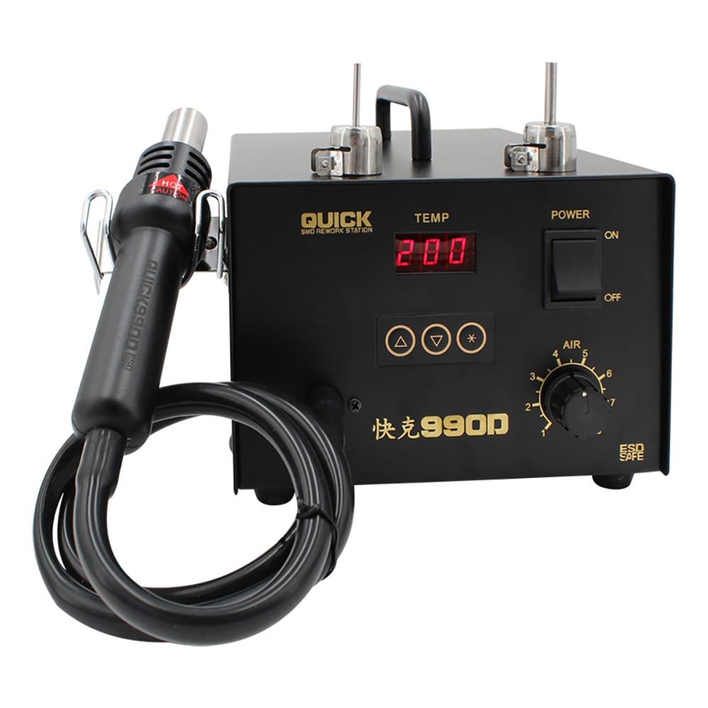Quick 990D Microcomputer Digital Display Desoldering Station Hot Air Station Pcb Repair Soldering Station Air Pump Station 320W