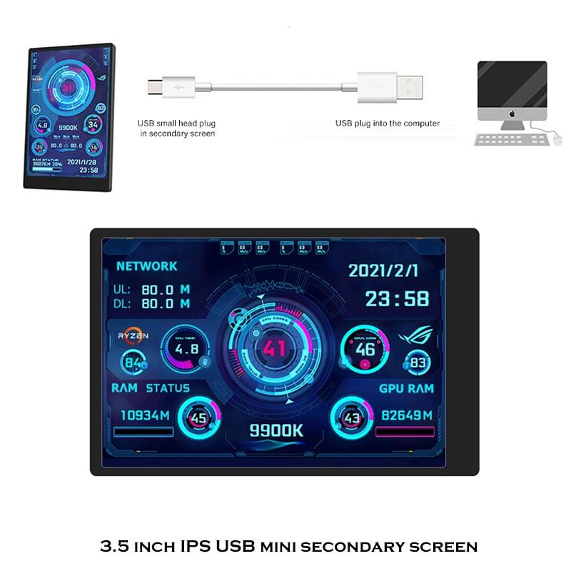 3.5 بوصة IPS TYPEC Mini ITX Case Moniror ، خزانة ألعاب الكمبيوتر شاشة ثانوية ، USB شاشة ديجيتال محرك حر AIDA64 لتقوم بها بنفسك