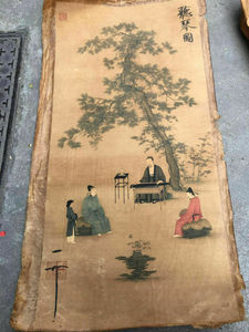 Chinese Old Scroll 《Listening to piano chart》 painting Rice paper painting Slice