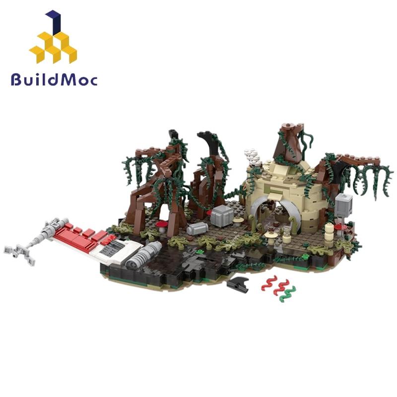 Buildmoc Star Movie The Empire Strikes Back Cursed Land Dagobah Playset MOC-19522 Creator Diorama Building Blocks Toys Kids Gift