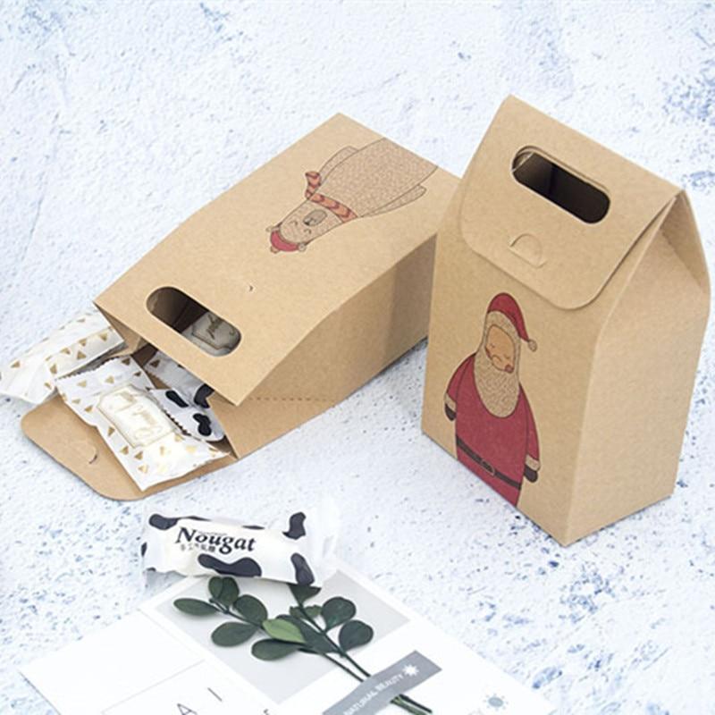 Caja de embalaje de papel Kraft para dulces, caja de regalo de Navidad, envoltorio de Chocolate, bolsas para galletitas y bizcochos, regalos para el nuevo año 2020