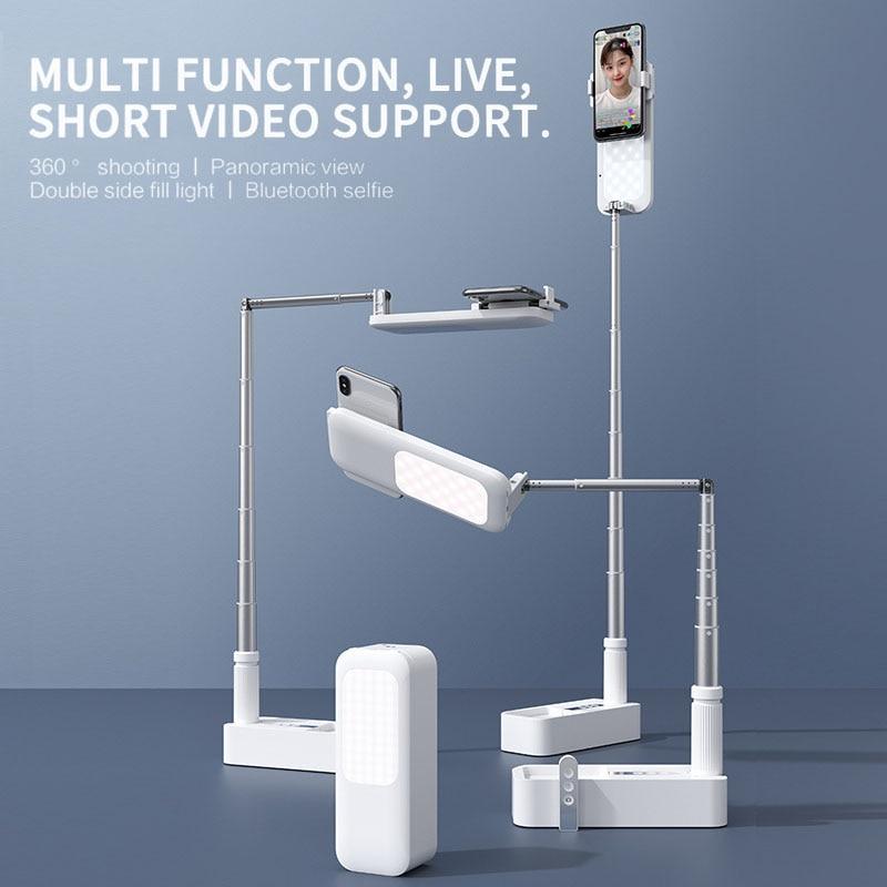 حامل هاتف محمول حامل مع لاسلكي عكس الضوء LED Selfie ملء ضوء مصباح ل لايف فيديو ملء ضوء حامل هاتف قابل للسحب