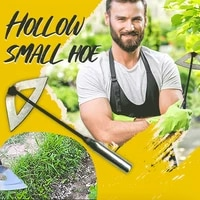 zezzo all steel hardened hollow hoe handheld weeding rake planting vegetable farm garden agriculture ranch tools accessories