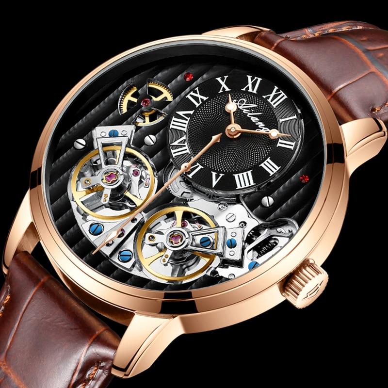 AILANG AAA جودة ساعة مكلفة مزدوجة توربيون سويسرا الساعات أفضل العلامة التجارية الفاخرة الرجال التلقائي ساعة ميكانيكية الرجال