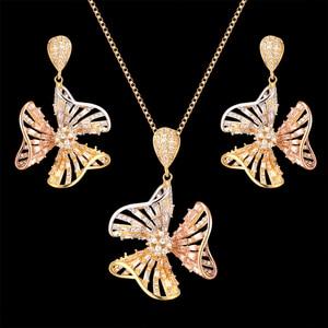 Ювелирные изделия Zlxgirl классические женские Свадебный комплект ювелирных изделий, идеальный AAA циркон ожерелье с жемчужной сережкой Ювелир...