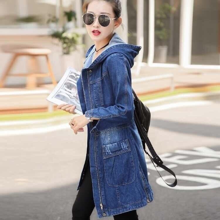 Medium and long denim jacket women's loose 2020 spring new Korean version slim large denim women's Denim enlarge