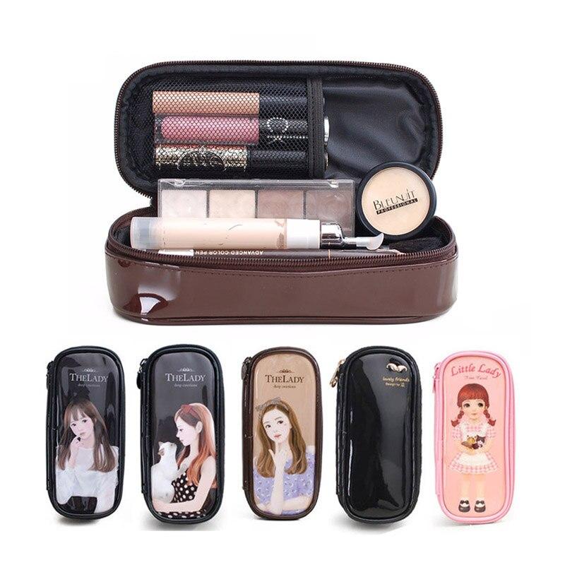 Sac de maquillage dessin animé porte-crayon esthéticienne étanche sac de maquillage en polyuréthane porte-crayon organisateur de voyage étui cosmétiques trousse de toilette
