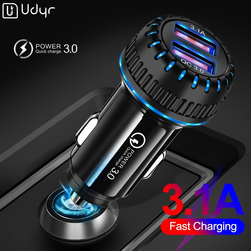 Udyr carga rápida 4.0 3.0 carregador de carro usb para iphone samsung xiaomi portas duplas usb carregamento rápido do telefone móvel carro-carregador
