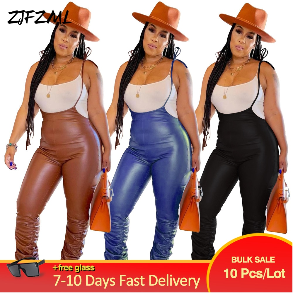 Bulk Lots Wholesale Items Faux PU Leather Romper Womens Jumpsuit 2021 Classic Chic Solid Ruched Pleated Bandage Party Overall