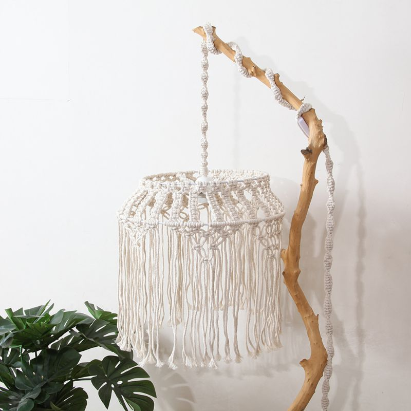 Hand-knitted Woven Lampshade Macrame Tapestry Tassel Hanging Lamp Decoration