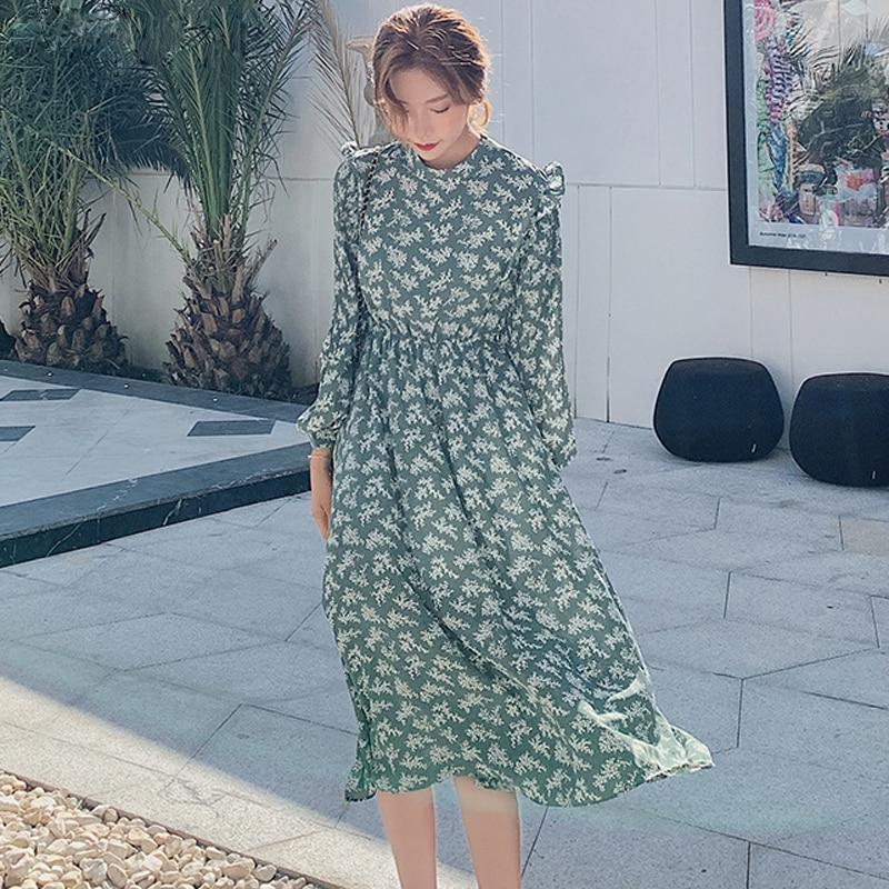 Elegant Ruffle Stand Collar Women Dress Long Sleeve Female Elastic Waist Chiffon Dress 2019 Autumn Midi Vestidos Femme