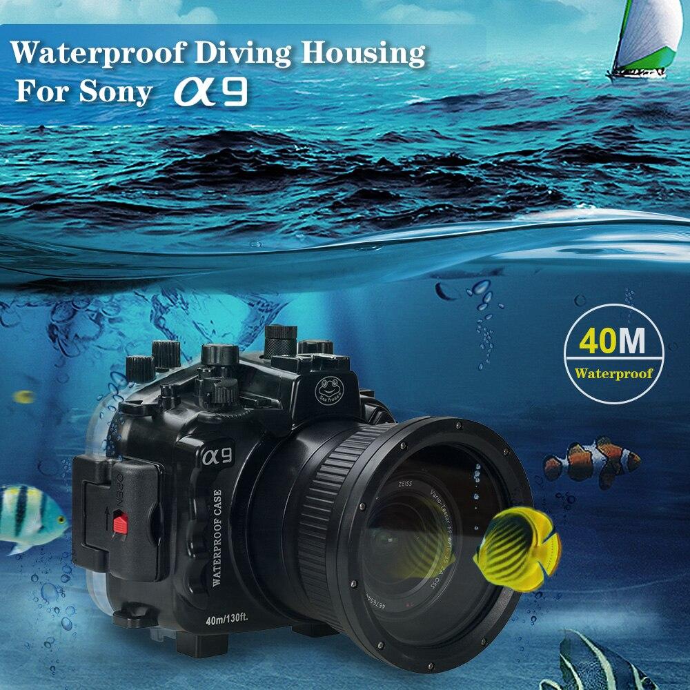 40M/130ft كاميرا مقاومة للماء حالة حقيبة لسوني A9 كاميرا تحت الماء الغطاء الواقي مع 28-70 مللي متر/90 مللي متر عدسة 1 قطعة