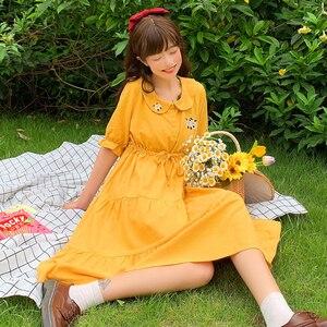 Japanese Sweet Cartoon Embroidered Doll Collar Drawstring Lace-up Loose Waist Slim-Looking Short-Sleeved Ruffle lolita Dress