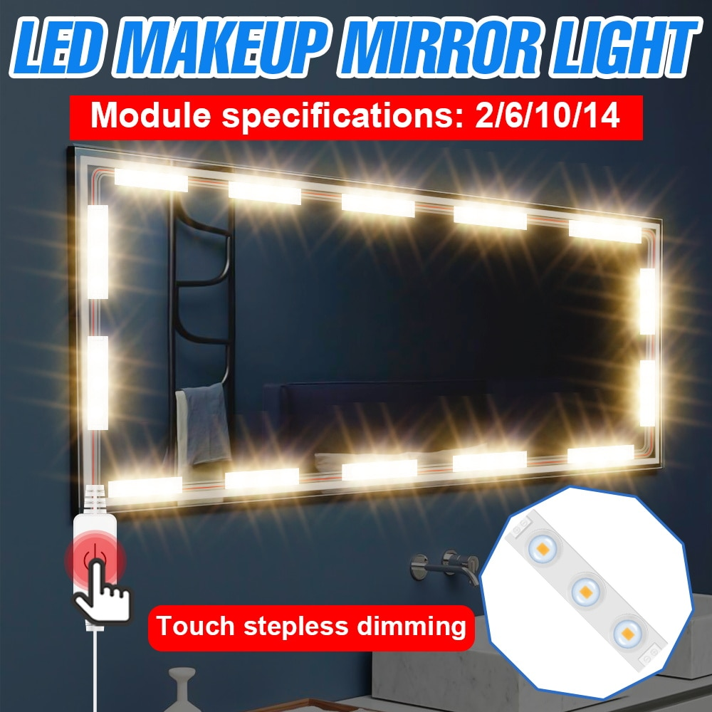CanLing Mirror Light Makeup LED Bulb 12V USB Vanity Light LED Wall Lamp Hollywood Stepless Dimmable LED Dressing Table Lighting