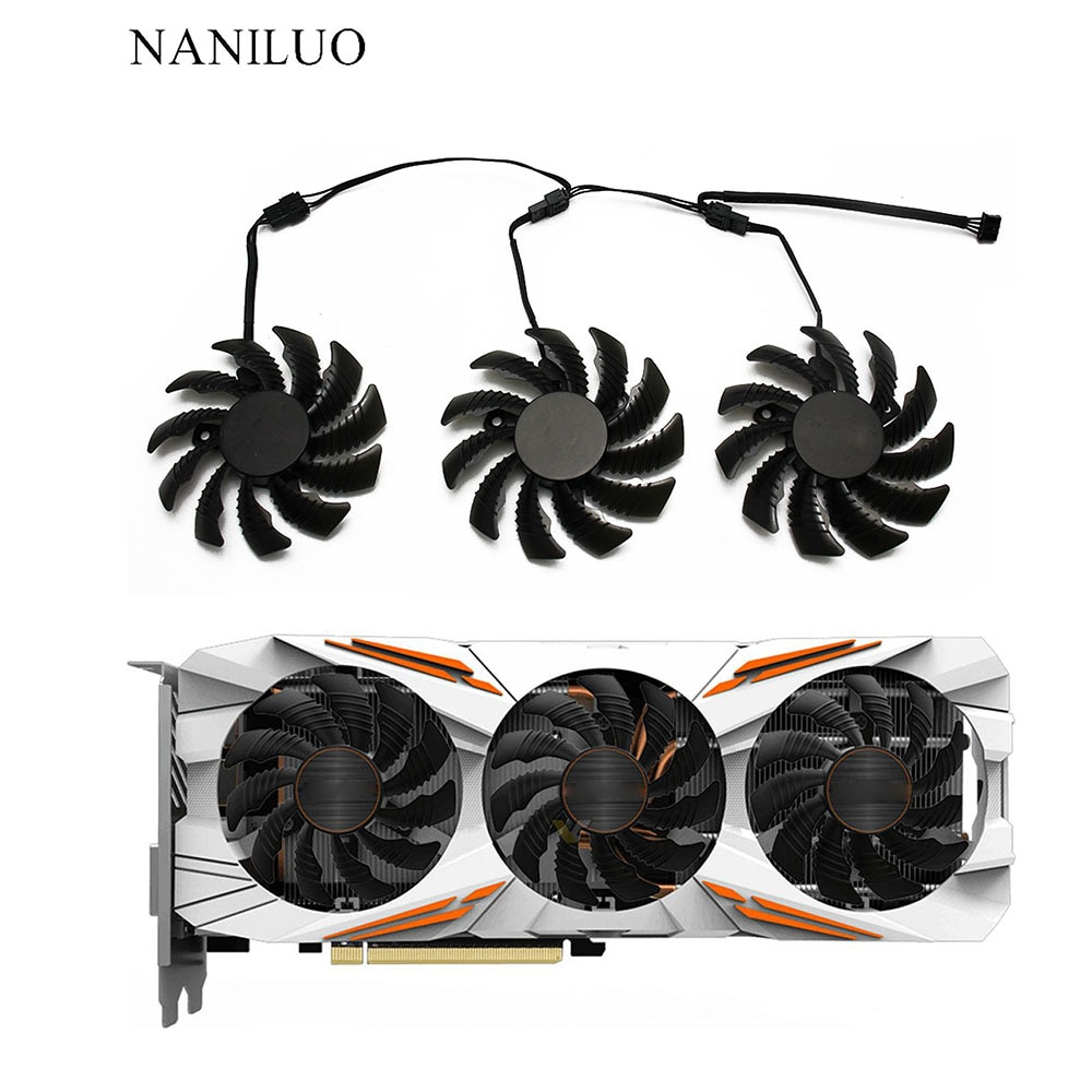 78MM T128010SU PLD08010S12HH 12V Cooling Fan para Placa Gráfica Gigabyte GTX1050 1060 1070 1080 G1 N960 N970 4Pin Fãs Mais Frias