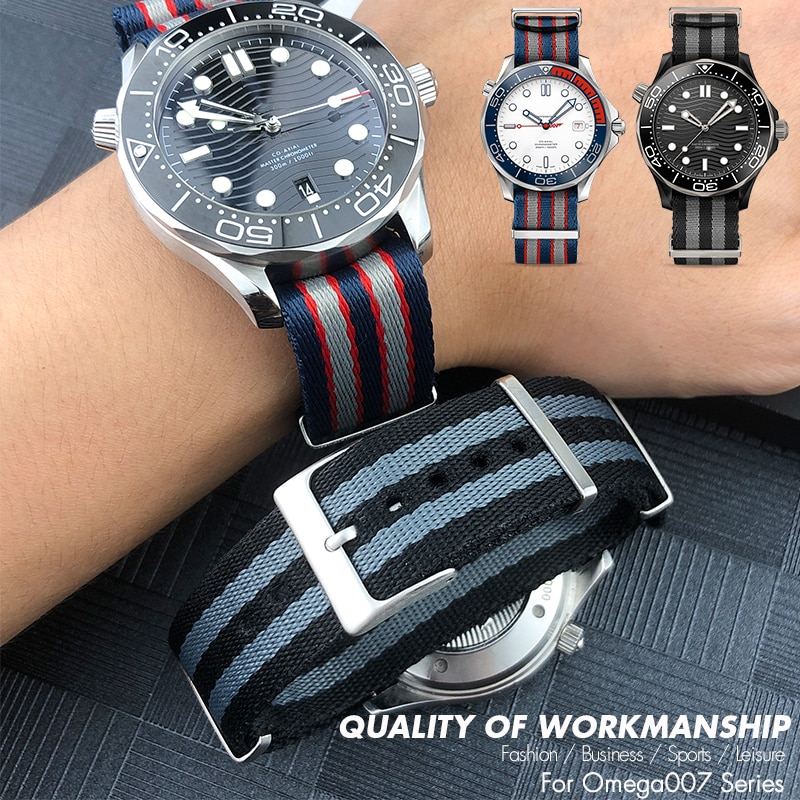 20mm 22mm No Fluffing Nylon Nato WatchBand Special For Omega watch Seamaster 007 Commander James Bon