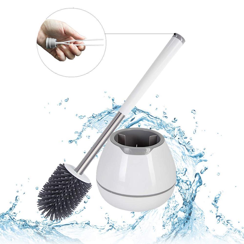 Juego de cepillos y soportes de inodoro TPR, cepillo de cerdas de silicona para inodoro, herramienta de limpieza de cuenco limpiador de baño con pinzas