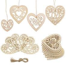 10 sztuk Hollow Love Heart drewniany naszyjnik Ornamet DIY wesele wisząca dekoracja domu dekoracyjne Mr Mrs drewniane serce Craft