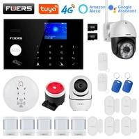 FUERS     systeme dalarme de securite domestique intelligent  wi-fi  4G  GMS  Tuya  sans fil  controle de camera  sirene  detecteur de mouvement  detecteur de fumee PIR