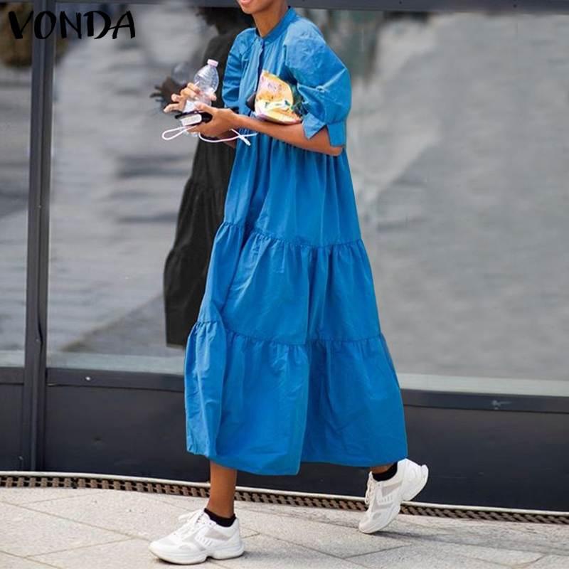 Womens Summer Dress Vintage Half Lantern Sleeve Sundress Swing Party Long VONDA Bohemian Vestidos Plus Size Casual Robe