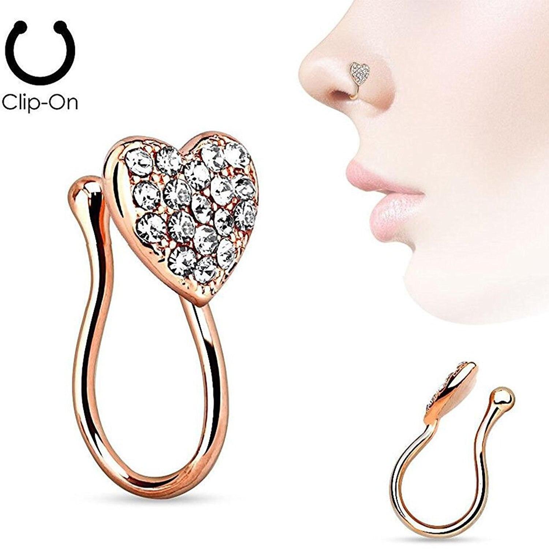 Pince sur anneau de nez pour les femmes 316l médical en acier inoxydable bijoux de corps en cristal or rose bijoux en gros