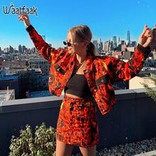 Waatfaat flamme imprimer Orange Mini jupe moulante Streetwear une ligne jupe automne Harajuku Punk jupes femmes de base mignon dames 2019